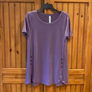 Zenana Premium purple top with button accents